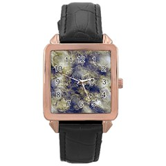 Wonderful Marbled Structure D Rose Gold Leather Watch