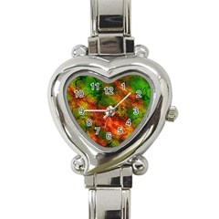 Wonderful Marbled Structure F Heart Italian Charm Watch