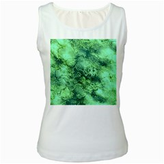 Wonderful Marbled Structure I Women s White Tank Top