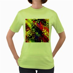 Awesome Fractal 35c Women s Green T Shirt