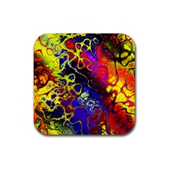 Awesome Fractal 35c Rubber Square Coaster (4 Pack)