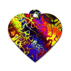 Awesome Fractal 35c Dog Tag Heart (one Side)
