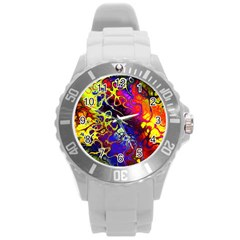 Awesome Fractal 35c Round Plastic Sport Watch (l)
