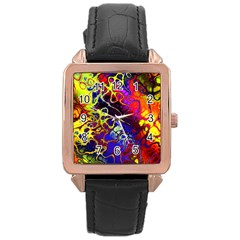 Awesome Fractal 35c Rose Gold Leather Watch