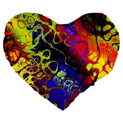 Awesome Fractal 35c Large 19  Premium Flano Heart Shape Cushions