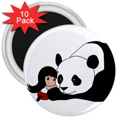 Girl And Panda 3  Magnets (10 Pack)