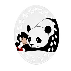 Girl And Panda Oval Filigree Ornament (two Sides)