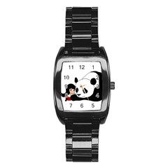 Girl And Panda Stainless Steel Barrel Watch