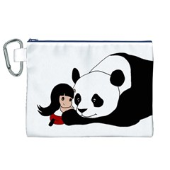 Girl And Panda Canvas Cosmetic Bag (xl)