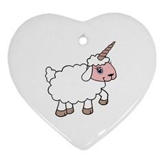 Unicorn Sheep Heart Ornament (two Sides)