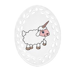 Unicorn Sheep Oval Filigree Ornament (two Sides)