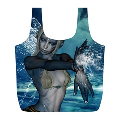 The Wonderful Water Fairy With Water Wings Full Print Recycle Bags (l)