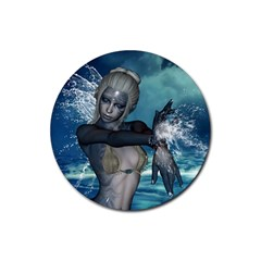 The Wonderful Water Fairy With Water Wings Rubber Coaster (round)