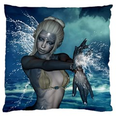 The Wonderful Water Fairy With Water Wings Large Flano Cushion Case (one Side)