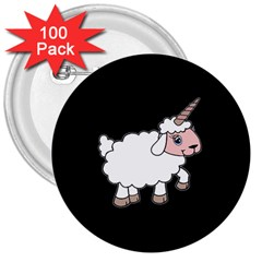 Unicorn Sheep 3  Buttons (100 Pack)
