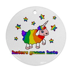 Unicorn Sheep Round Ornament (two Sides)
