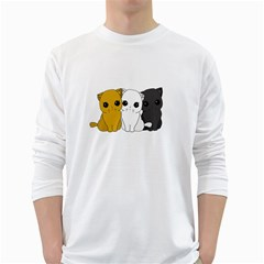 Cute Cats White Long Sleeve T Shirts