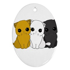 Cute Cats Oval Ornament (two Sides)