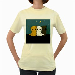 Cute Cats Women s Yellow T Shirt
