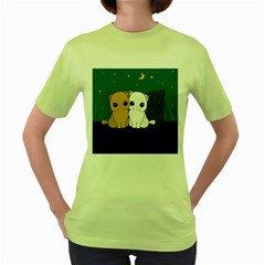 Cute Cats Women s Green T Shirt