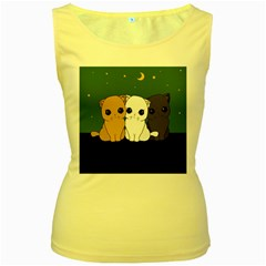 Cute Cats Women s Yellow Tank Top