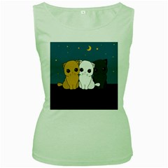 Cute Cats Women s Green Tank Top