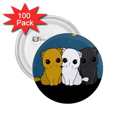 Cute Cats 2 25  Buttons (100 Pack)