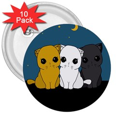 Cute Cats 3  Buttons (10 Pack)