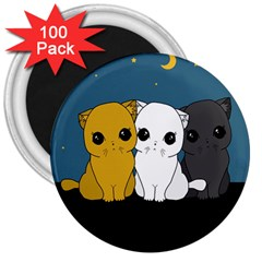 Cute Cats 3  Magnets (100 Pack)