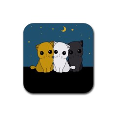 Cute Cats Rubber Square Coaster (4 Pack)