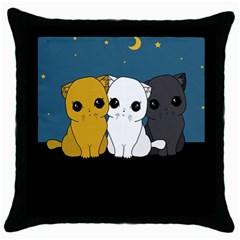 Cute Cats Throw Pillow Case (black)