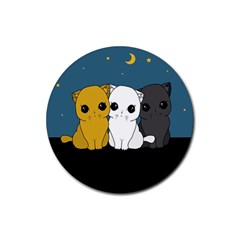 Cute Cats Rubber Round Coaster (4 Pack)