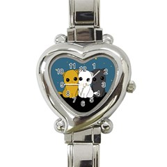 Cute Cats Heart Italian Charm Watch