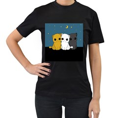 Cute Cats Women s T Shirt (black) (two Sided)