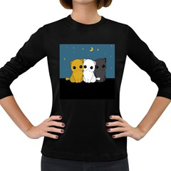 Cute Cats Women s Long Sleeve Dark T Shirts