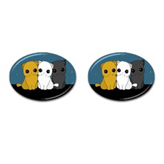 Cute Cats Cufflinks (oval)