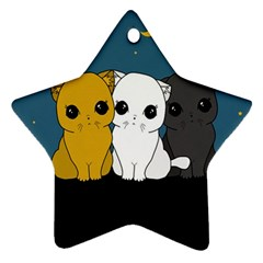 Cute Cats Star Ornament (two Sides)