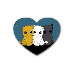 Cute Cats Rubber Coaster (heart)