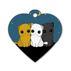 Cute Cats Dog Tag Heart (one Side)