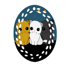 Cute Cats Oval Filigree Ornament (two Sides)