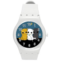 Cute Cats Round Plastic Sport Watch (m)