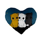 Cute cats Standard 16  Premium Heart Shape Cushions Front