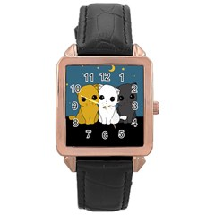 Cute Cats Rose Gold Leather Watch