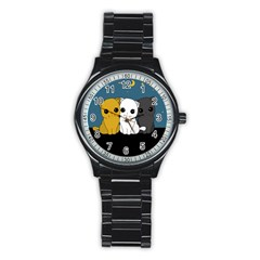 Cute Cats Stainless Steel Round Watch