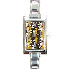 Cute Cats Pattern Rectangle Italian Charm Watch