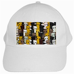 Cute Cats Pattern White Cap