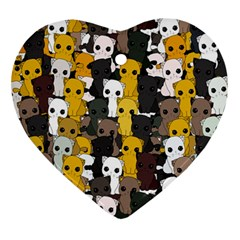 Cute Cats Pattern Ornament (heart)