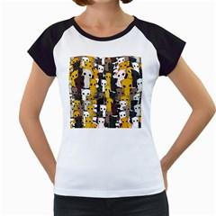 Cute Cats Pattern Women s Cap Sleeve T