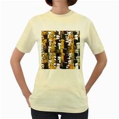Cute Cats Pattern Women s Yellow T Shirt