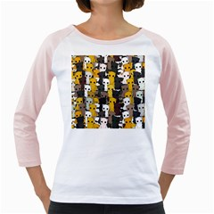 Cute Cats Pattern Girly Raglans